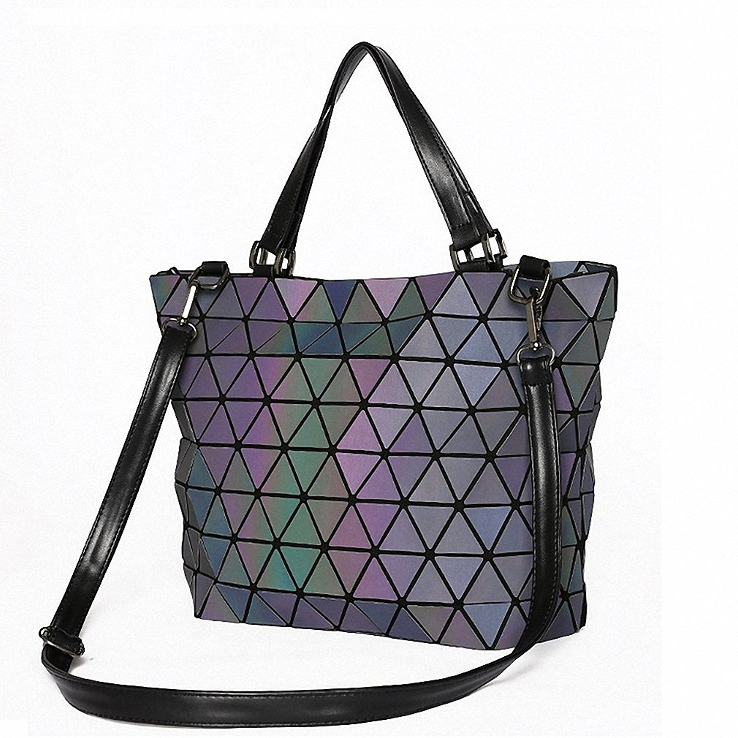 48c52ec6a9a8 Get Quotations · Matte Women BaoBao Bag Geometry Sequins Mirror Saser Plain  Folding Shoulder Bags Luminous Handbag Casual Tote