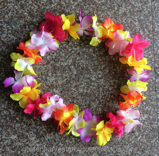 multi silk tropical hawaiian premium party and flower necklace toys lei graduation count vibrant supplies soft luau leis favors leys colored