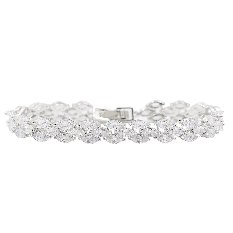 Sparking Marquise Cut Cubic Zirconia CZ Bridal Adjustable Chain Bracelet for Women Wedding