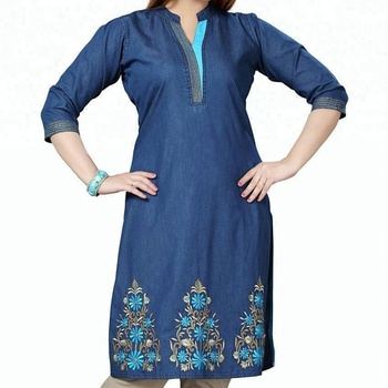 88ebc4085fd Royal wolf denim dress manufacturer blue embroidered denim kurti ladies  jeans kurta