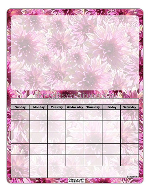 Full Color Printed Flower Series Home Decor Flexible Dry Erase Board Magnetic Message Board