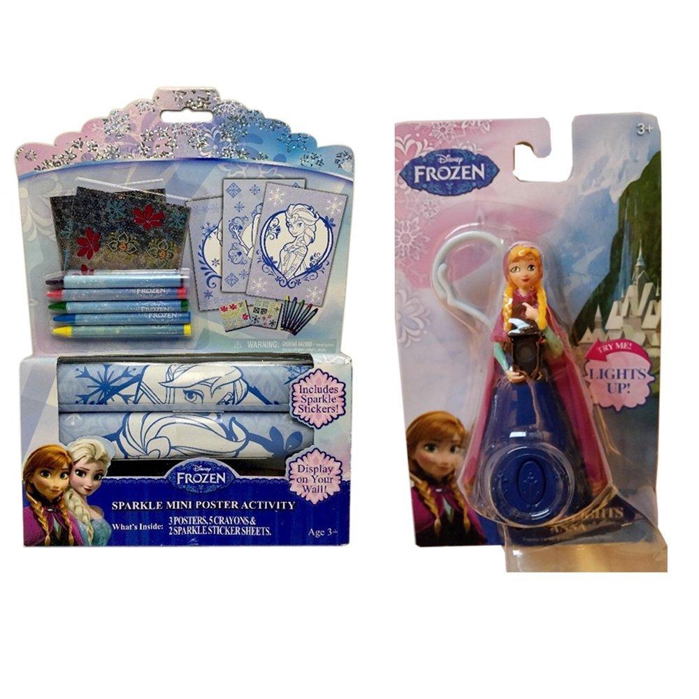 Mini Poster Rolling Art Activity Set + Anna Little Lights Light-Up Figurine w/Clip-on Hook Gift Set Bundle