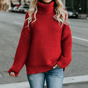 Warm Winter Ladies Knit Loose Sweater Womens Turtleneck Sweater