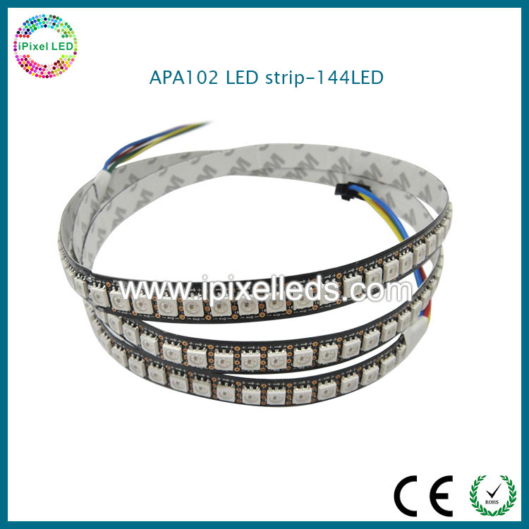 CE, RoHS black pcb <strong>rgb</strong> apa102 led strip 144led cuttable every LED chip