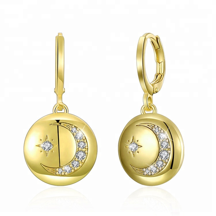 Classic Gold Color Round with Moon and Star Shape Zircon Copper Alloy Hoop <strong>Earrings</strong>