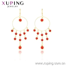 29740 xuping bead earring tassel hoop, indian gold plated jewellery