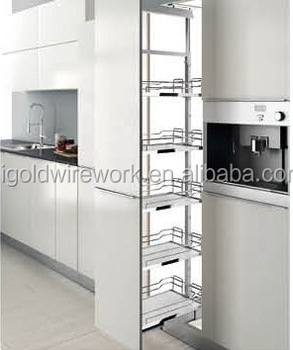 Soft Close Slide Pull Out Tall Unit Storage Basket For Kitchen Cabinet