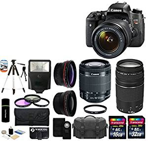 Canon EOS Rebel T6s 24.2MP CMOS Digital SLR Camera with EF-S 18-55mm f/3.5-5.6 IS II Lens + Canon Zoom Telephoto EF 75-300mm f/4.0-5.6 III Autofocus Lens + 58mm Telephoto Lens + Wide Angle Lens + Case + Flash + Tripod + 48GB Deluxe Accessories Bundle