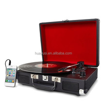 Portable antique suitcase record player for 33 45 78 RPM Stereo Bluetooth USB Vinyl Record Player