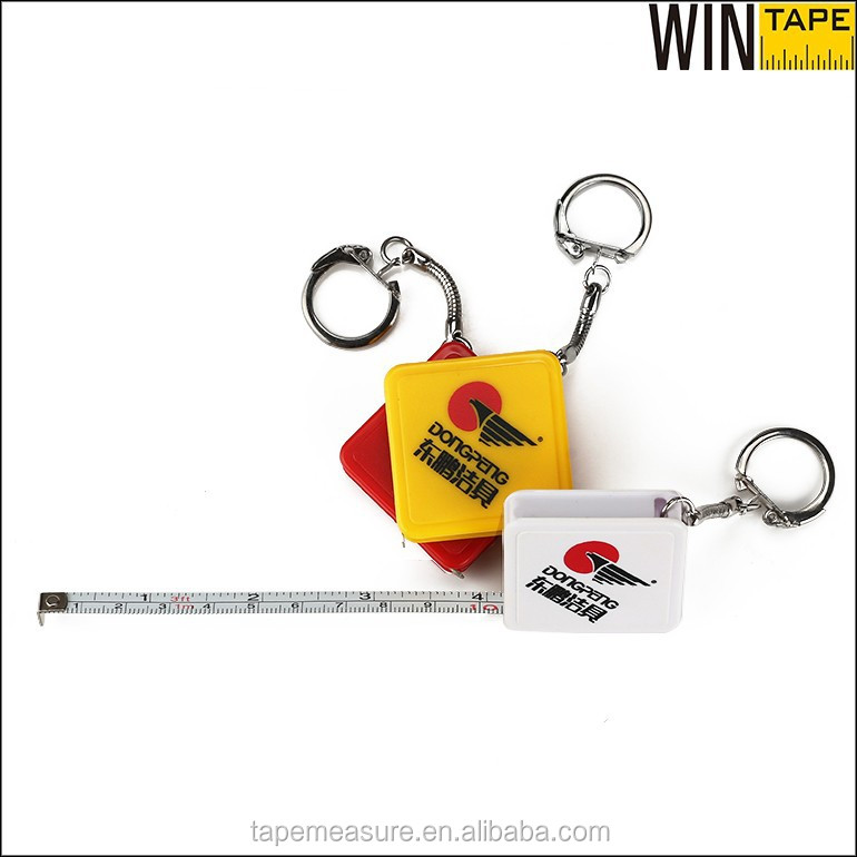 1 meter promotional mini retractable ABS plastic square keychain tape measures with your customized logo