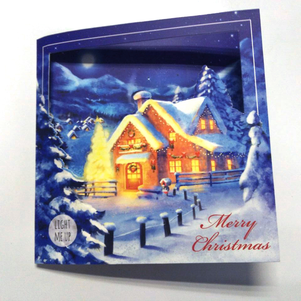 Cute Funny Handmade Paper Led Light Up Greeting Christmas Cards With ...