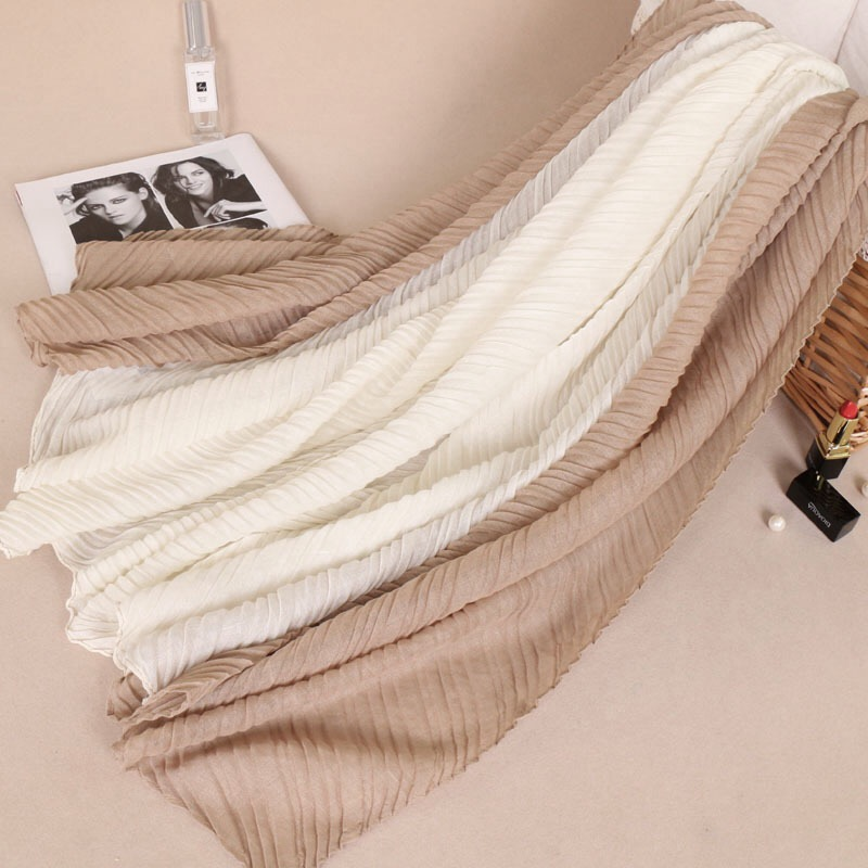 Wholesale Fancy Crinked Scarf For Women Cotton Long Style Two Colors Patchwork Crumple Pleated Hijabs