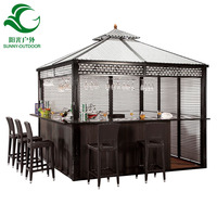 Latest Double Tops Rattan Garden Bar Gazebo Pavilion With Plastic Wood Floor