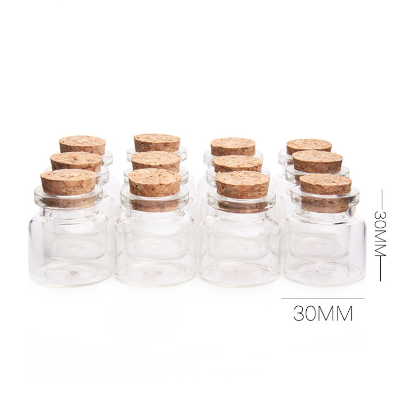 30x30mm 12pcs Glass Bottles Cork Stopper 10ml Transparent Glass Jars Bottle Vials Clear Storage Container Home Decor Craftwork