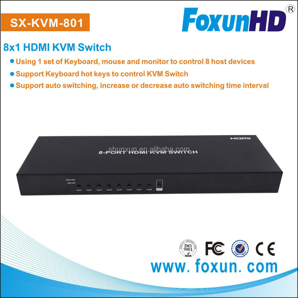 8 Ports USB HDMI KVM Switch support keyboard to control KVM swtich SX-KVM801 support auto switching