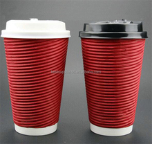 12oz 2016 High Quality Hot Sale Custom Printed Ripple Wall Paper Coffee Cups with Lid