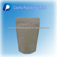 Customized stand up kraft paper ziplock lined foil bag for packaging tea/Round corner tea bag