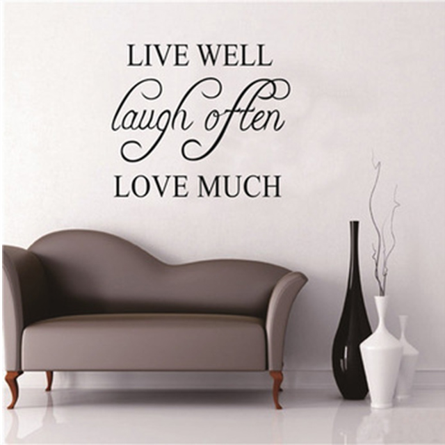 Colorcasa ZY8122 Quote Muursticker Home Decoratie Accessoires Woonkamer Sticker Live Laugh Liefde