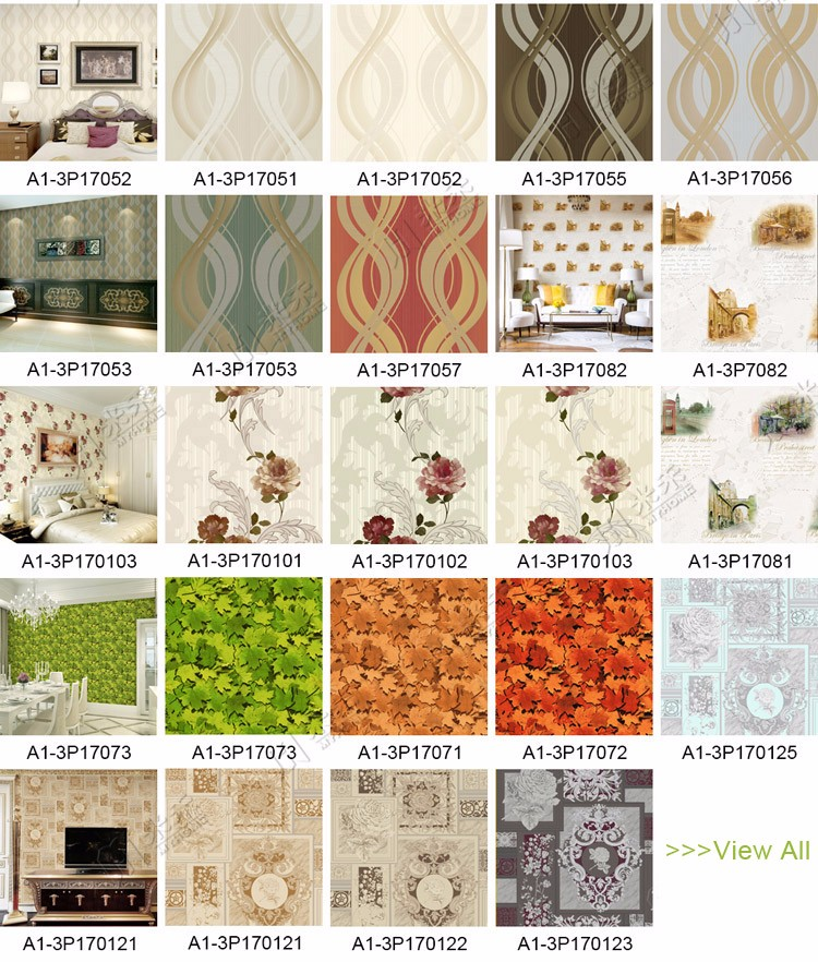 Good quality guangzhou chinese pvc wallpaper myhome glitter wallpaper 3d