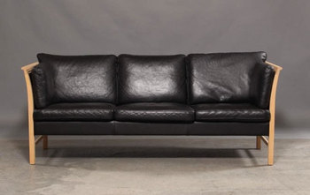 Skippers Danish Style Sofa 3 Seater With Frame Of Beech Wood Upholstered In Black Leather