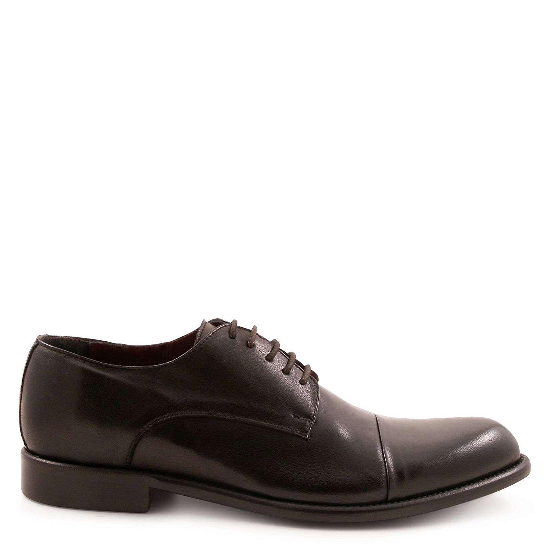 LEONARDO SHOES Men's 246313PAPUANERO Black Leather Lace-up Shoes