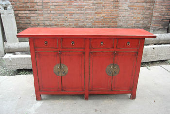 Solid Reclaimed Wood Living Room Cabinet Red Sideboard