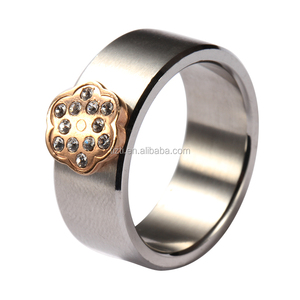 gold plating flower welding huge titanium man ring with micro pave cz