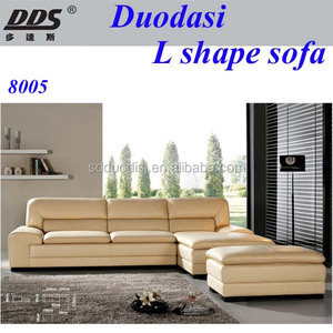 top sale cheap new l shaped corner genuine leather sofa set living room sofa set 8005