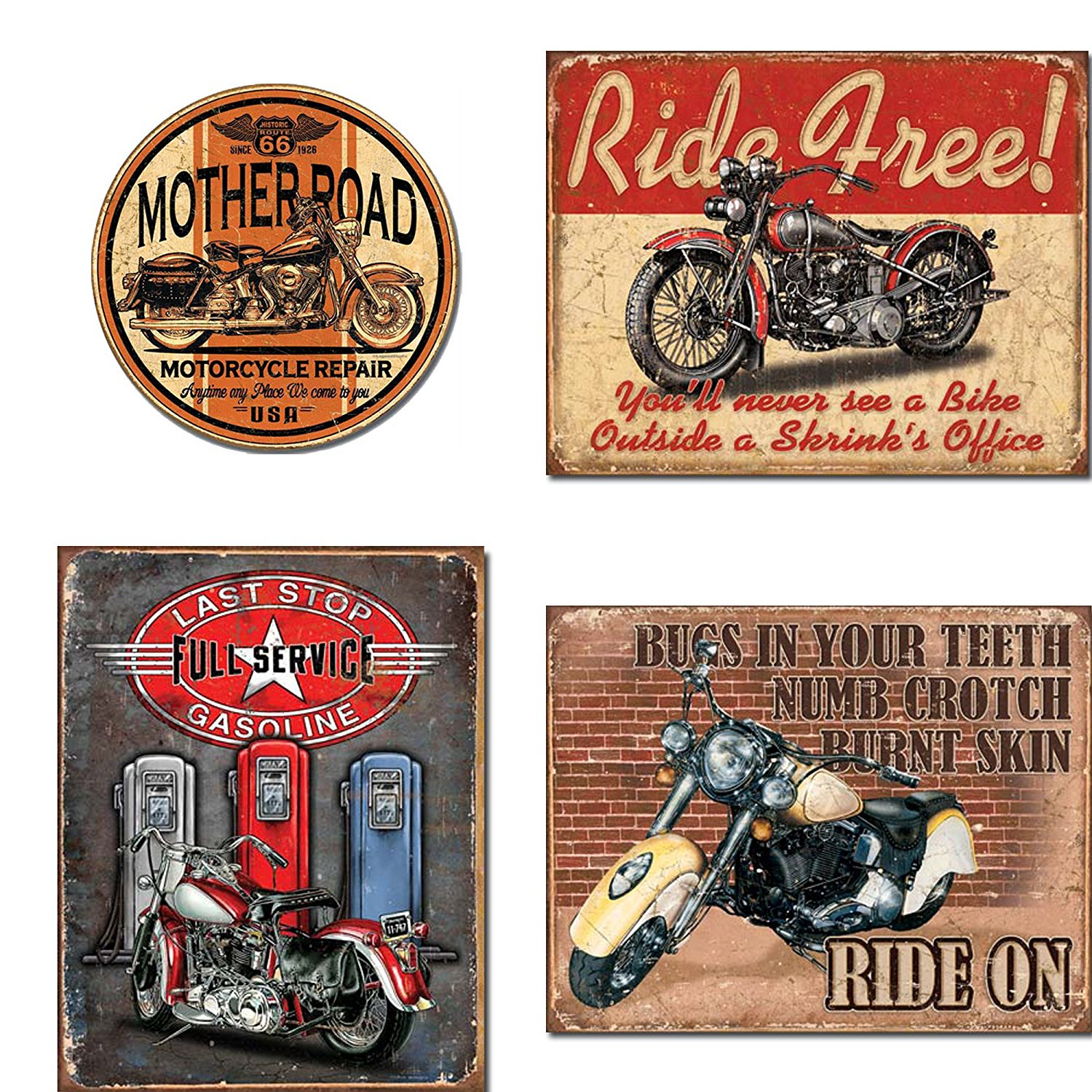 Motorcycle Tin Sign Bundle - Mother Road Motorcycle Repair, Ride Free, Last Stop Full Service Gasoline, Ride On
