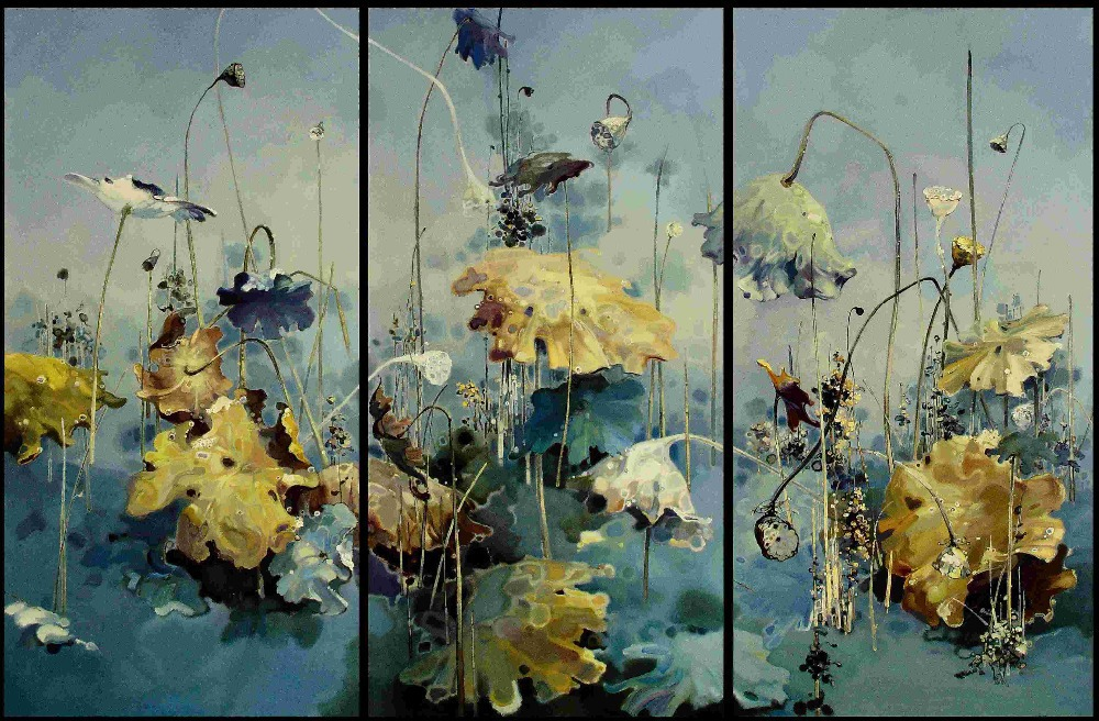 3pieces Modern Abstract Huge Wall Art Oil Painting On: Framed Oil Painting Three Picture Combination Modern