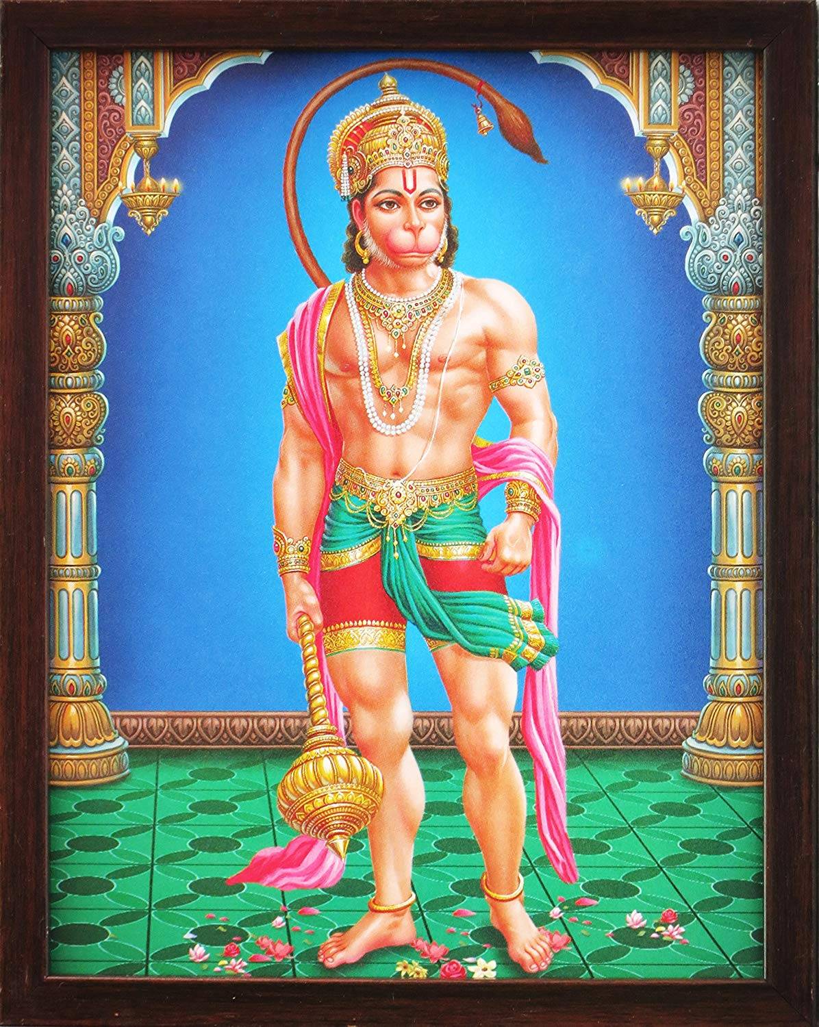 Hindu Lord Hanuman in His Palace, a Holy Hindu Religious Poster Painting with Frame for Worship Purpose