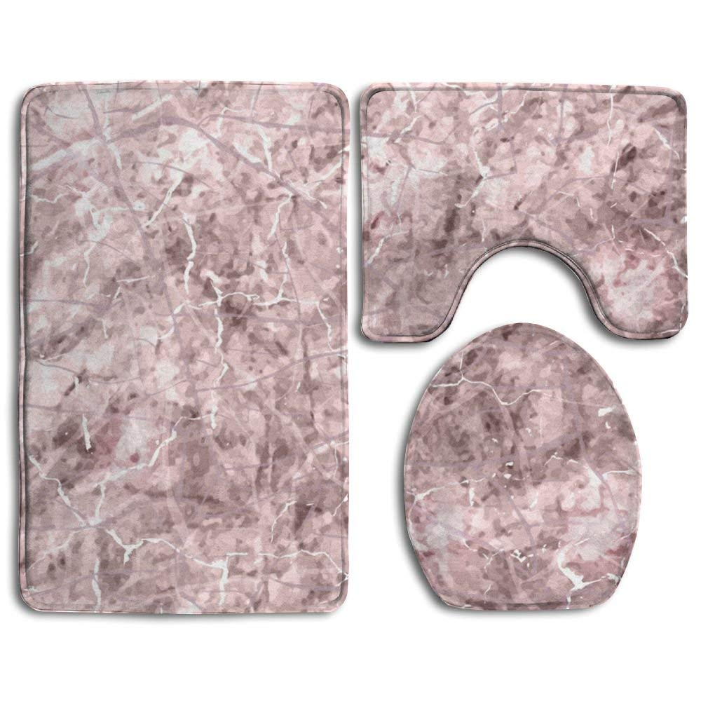 XTingIy Marble Rose Gold Family Flannel Non-Slip Bathroom Rug Mats Set 3 Piece Soft
