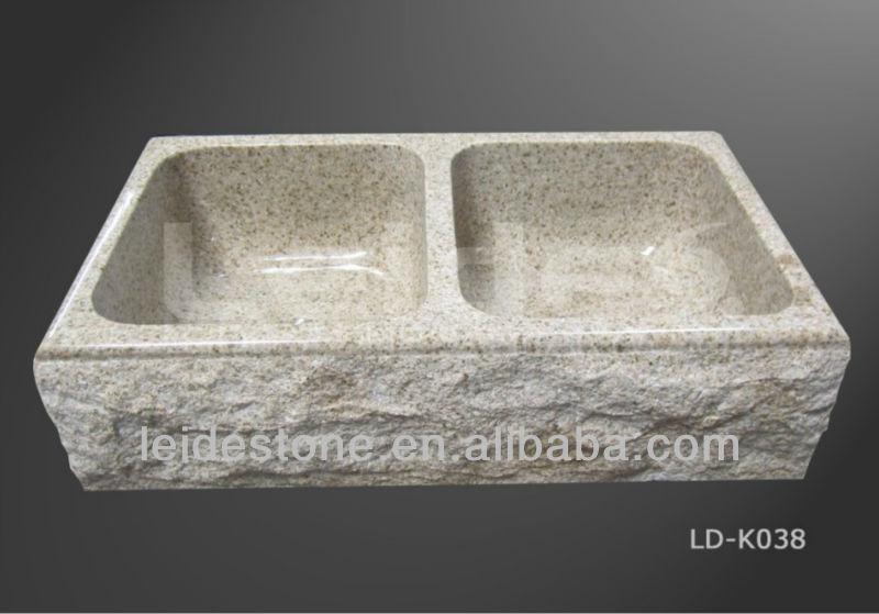 rustikale küche doppelspüle küchenspüle waschbecken aus stein ...