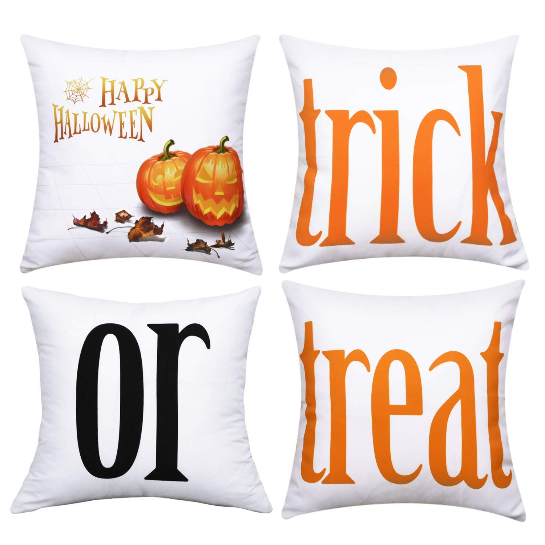 BLEUM CADE Halloween Theme Pillow Covers Halloween Treat or Trick Throw Pillow Case Daily Decorations Sofa Throw Pillow Case Cushion Covers Zippered Pillowcase
