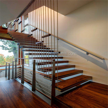 Bon Hidden Single Stringer Wooden Stairs With Cable /wire Railing Modern Indoor  Staircase   Buy Wooden Staircase,Cable Railing Desagn,Home Interiors Decor  ...