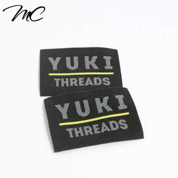 Custom Famous Brand Name Logo Straight Cut Machine Woven Damask Clothes Labels for Clothing