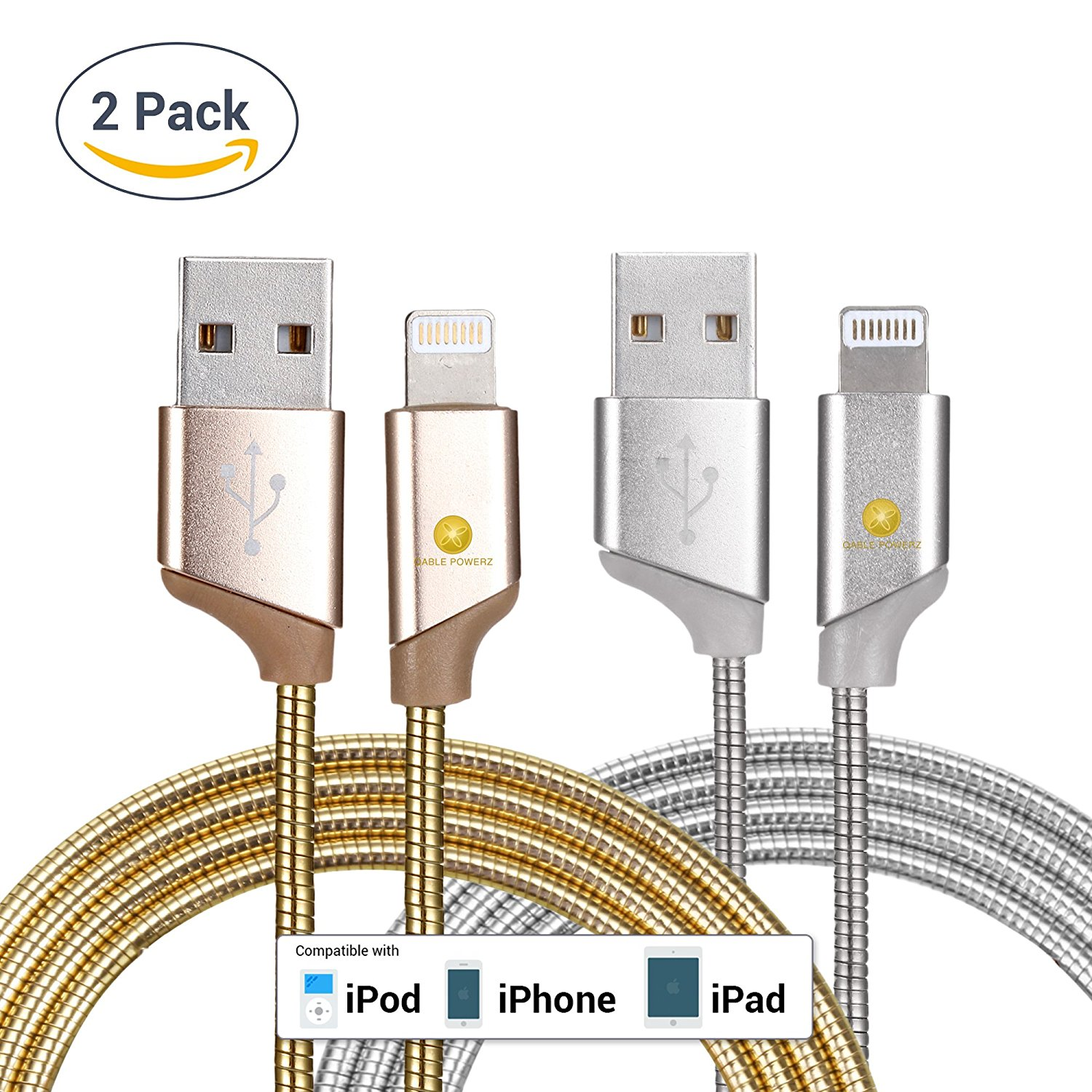 2pk New Ultra Super-Fast Heavy Duty 3Ft (1M) 2pk 8-Pin Lightning Metal Spring Cord Charging Cable High Speed USB 3.0 Sync Cable for iPhone 7, 6, 6 Plus – Gold Silver