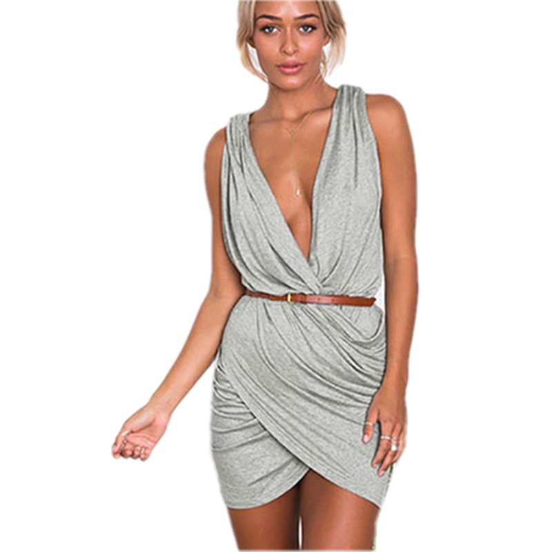 Get Quotations · Vestido de festa 2015 New Sexy Summer style Grey Plunge  Neck Pleated Wrap Mini Dress casual 41222943b