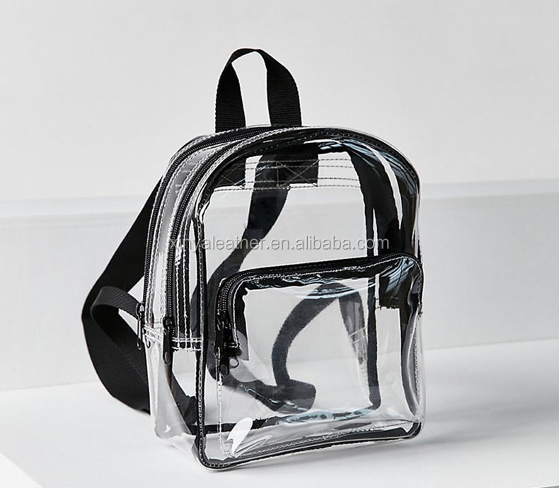 Durable waterproof clear bag girls transparent PVC backpack with nylon shoulder strap