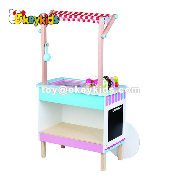 2020 Amazon top seller kids wooden ice cream stand toy for pretend play W10D168