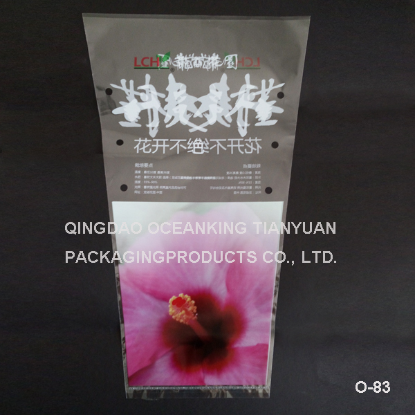 printed custom made triangle shaped plastic bags for flowers or vegetables