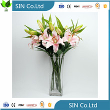 SIN 5pcs New Silk Flower Artificial Lilies Bouquet 3 Heads Home Wedding Floral Decor (White)