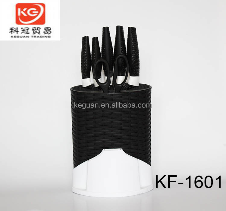 KF-1601 10 pcs Non-stick Stainless steel colorful kitchen knife set chef knife Santoku knife with pp block