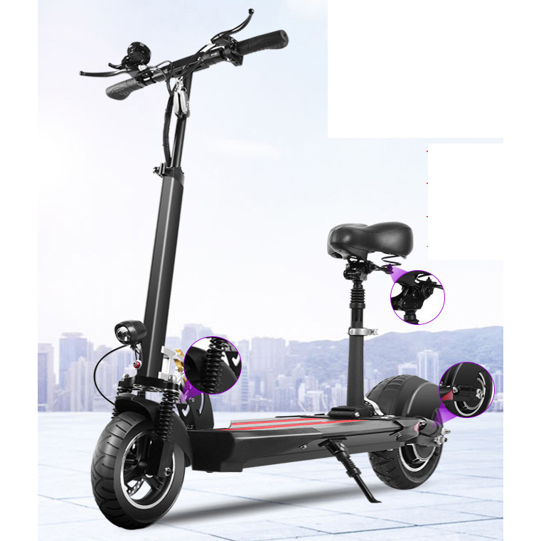 Cheap 10 inch 48V 1000W Powerful fast 10AH foldable Aluminum scoter Electric Scooter two wheels with seat E-scooter for adults, Black or oem