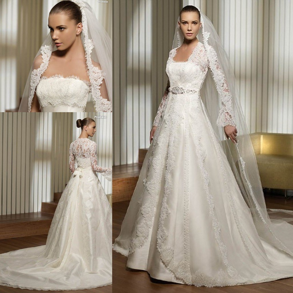 Wedding Gown With Lace: 3495 Lace Bust And Long Sleeves Jacket Satin Bridal