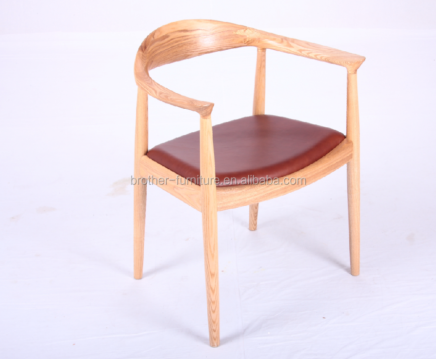 Kennedy chair in ashwood with aniline leather or fabric cushion