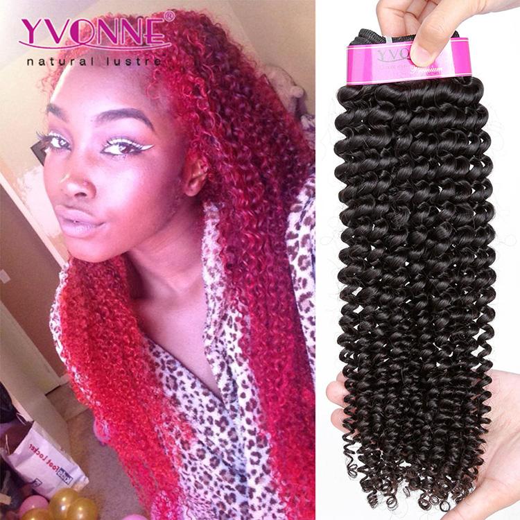 Yvonne Mink Brazilian Hair Kinky Curly Human Hair Remy Virgin Hair Extension, Natural color (#1b)