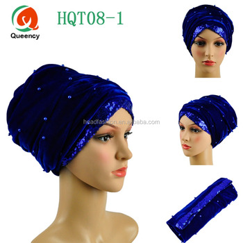 Free shipping African bandana headwear Beads sequins Size72 quot  22 quot  5cd7b417c49