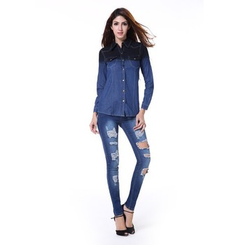 Wholesales Hot Sale Sexy Girls Spandex Long Jean With Hole,Cheap ...