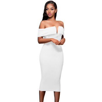 Sexy Fashion Off Shoulder Party Dress Elegant Ladies Dress Midi Dress